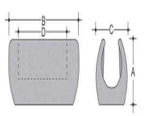 Base piana a pinza antirotazione in PE per tondo Diam. mm 11 - Base 17x24-A/14mm-B/30mm-C/17mm-D/20mm