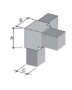 Innesti per tubo quadro in ABS 5 VIE 20x20 per tubo spessore mm 1.2