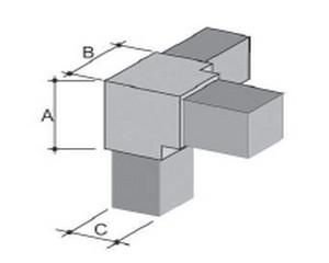 Innesti per tubo quadro in ABS 4 VIE 20x20 Metallizzato per tubo spessore 1.2 mm