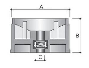 Innesto c/vite per tubi rotondi in PS - A/60mm-B34mm-C/8MA nero