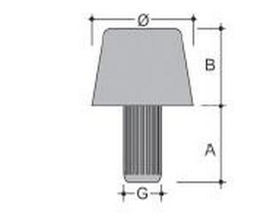 Paracolpi a tronco di cono in PE duro 12-16H11G.6X12 nero