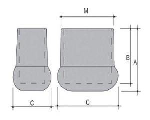Piedi scala artiglio ovale in PVC nero 50X25